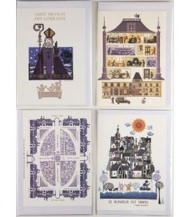 Lot de 4 cartes doubles de Jean-Paul MARCHAL