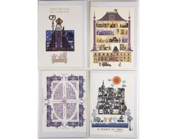 Lot de 4 cartes double de Jean-Paul MARCHAL