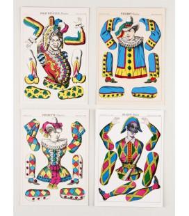 Lot de 4 cartes Pantins