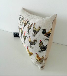 Coussin Poules et coqs rectangle