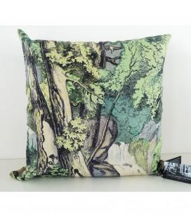 Coussin Fond de forêt en lin-coton (52x52 cm)