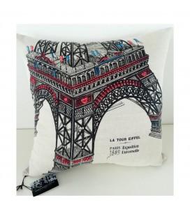 Coussin Tour Eiffel en lin-coton (52x52 cm)
