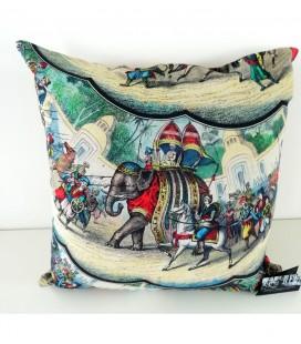 Coussin Eléphants en lin-coton (52x52 cm)