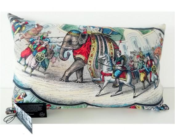 Coussin Eléphants indiens en lin-coton (32x52 cm)