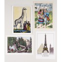 Lot de 4 cartes Images d'Epinal traditionnelles