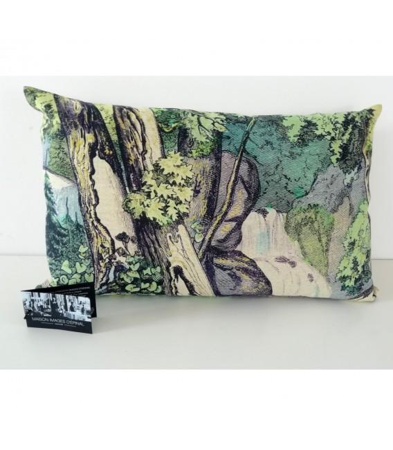 Coussin Fond de forêt en lin-coton (32x52 cm)
