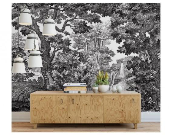 Forêt noir et blanc - décor panoramique