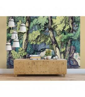 Décor panoramique - fond de forêt avec renard