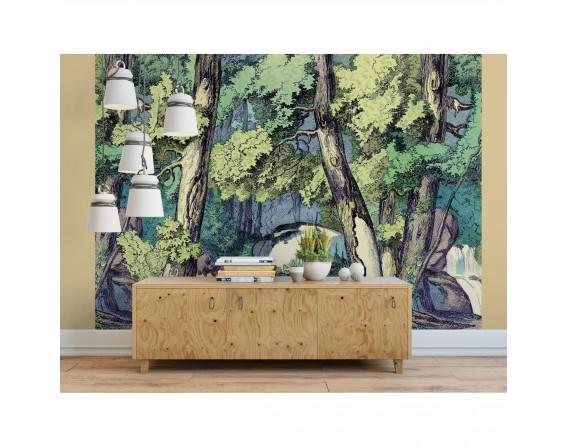 Fond de forêt avec renard - décor panoramique