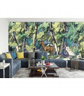 Décor panoramique - fond de forêt avec cerf