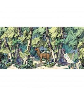 Fond de forêt avec cerf - décor panoramique