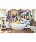 Décor panoramique Tanganyika éléphants au bain