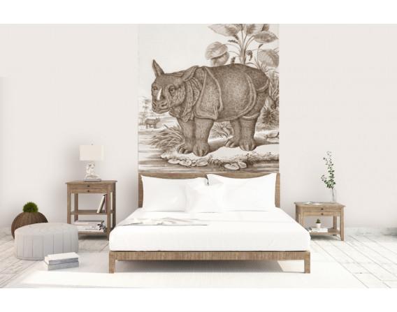 décor panoramique rhino sepia