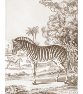 décor panoramique zèbre sepia