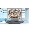 décor panoramique éléphants sepia au bain