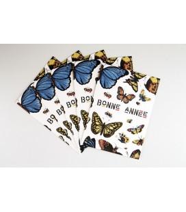 Lot de 5 cartes doubles Bonne Année - La chasse aux papillons
