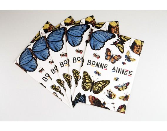 Lot de 5 cartes Bonne Année La Chasse aux Papillons