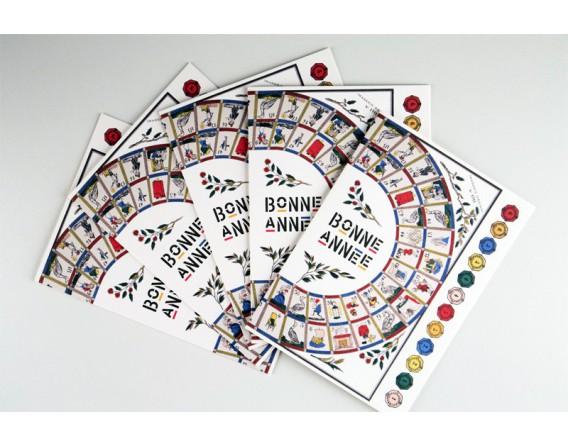 Lot de 5 cartes doubles Bonne Année - Le Jeu de l'Oie
