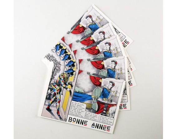 Lot de 5 cartes doubles Bonne Année - Mon ami Pierrot