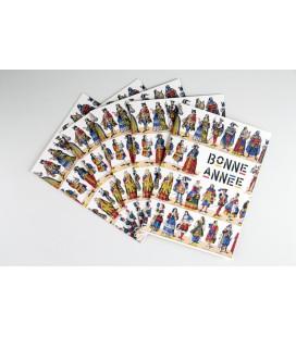 Lot de 5 cartes doubles Bonne Année - Les courtisans