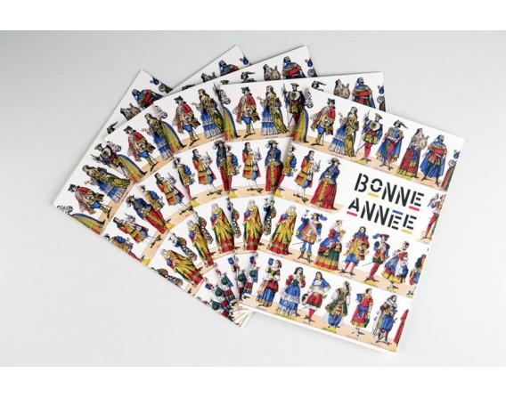 Lot de 5 cartes doubles Bonne Année - Les Courtisans (Costumes)