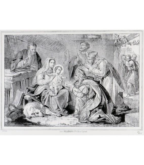 """Lithographie """"Adoration des Rois Mages"""""""