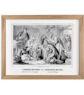 """Lithographie """"Adoration des Rois Mages"""" encadrée"""