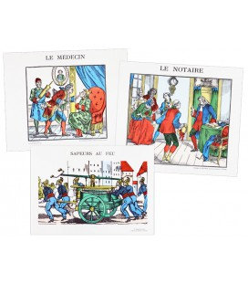 "LOT DE 3 IMAGES ""METIERS"""