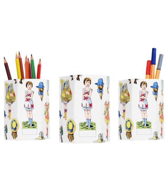 """Lot de 3 pots à crayons """"poupées"""""""