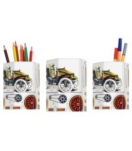 "Lot de 3 pots à crayons ""construction voiture"""