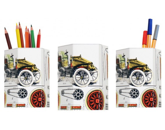 """Lot de 3 pots à crayons """"construction voiture"""""""